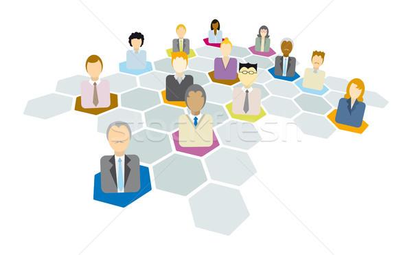 Business network człowiek kobiet działalności biznesmen mężczyzn Zdjęcia stock © curvabezier