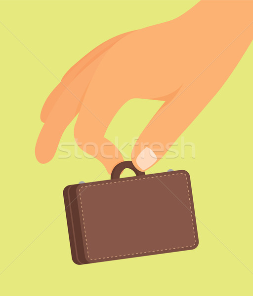 Empresa de pequeno porte mão mala Foto stock © curvabezier