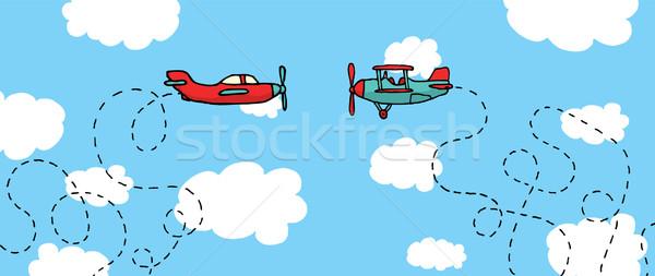 Desenho animado aviões batalha diversão ar Foto stock © curvabezier