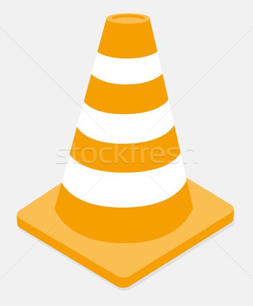 Orange and white striped traffic cone Stock photo © curvabezier