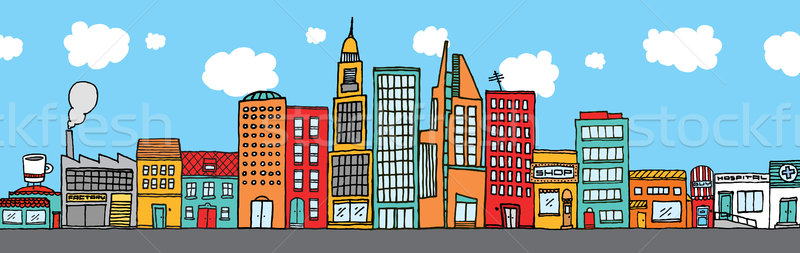 Colorful city skyline Stock photo © curvabezier