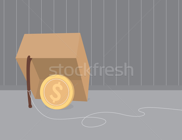 Money trap using coin as bait Stock photo © curvabezier