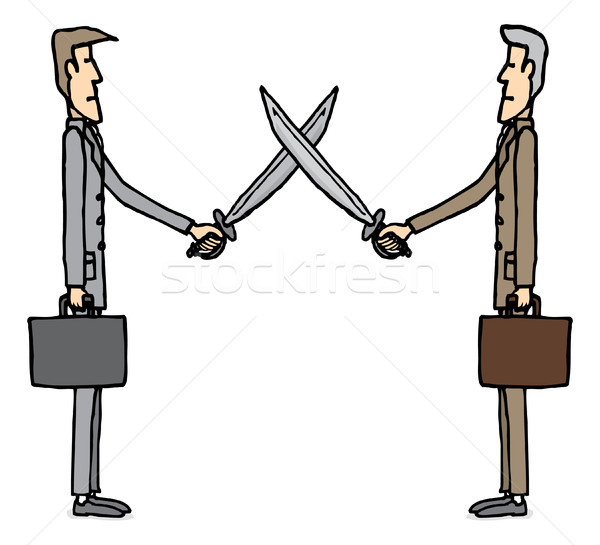 Businessmen sword dueling Stock photo © curvabezier