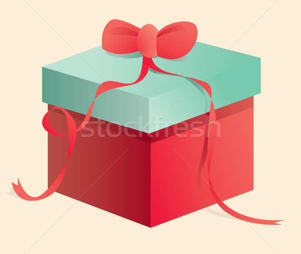 Red and green box with a tie Stock photo © curvabezier