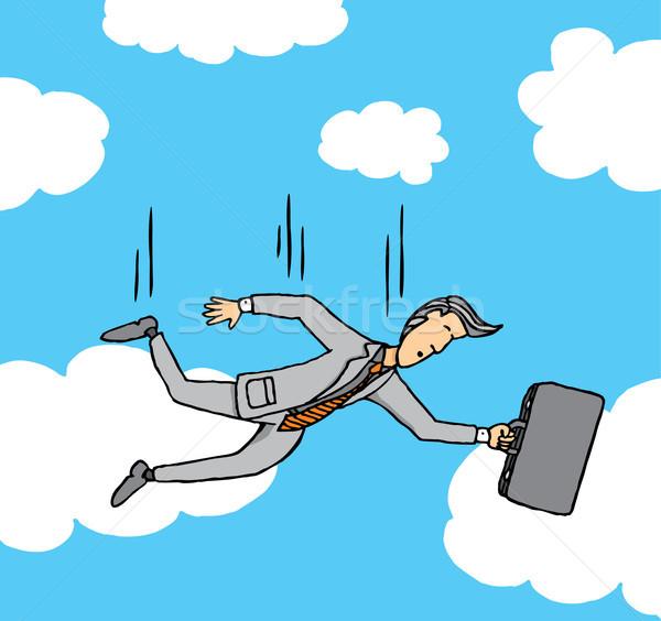 Empresário queda céu negócio financiar mala Foto stock © curvabezier