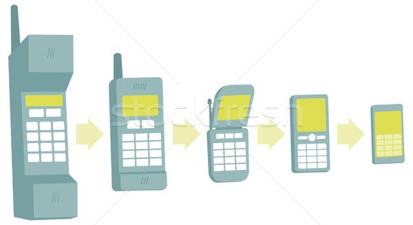 Téléphone portable évolution technologie vecteur faible progrès Photo stock © curvabezier