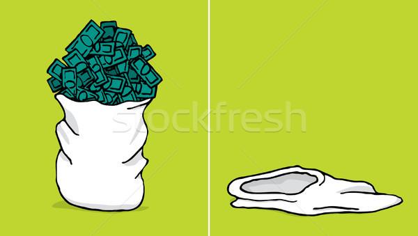 Saco dinheiro dólar desenho animado tesouro projeto de lei Foto stock © curvabezier