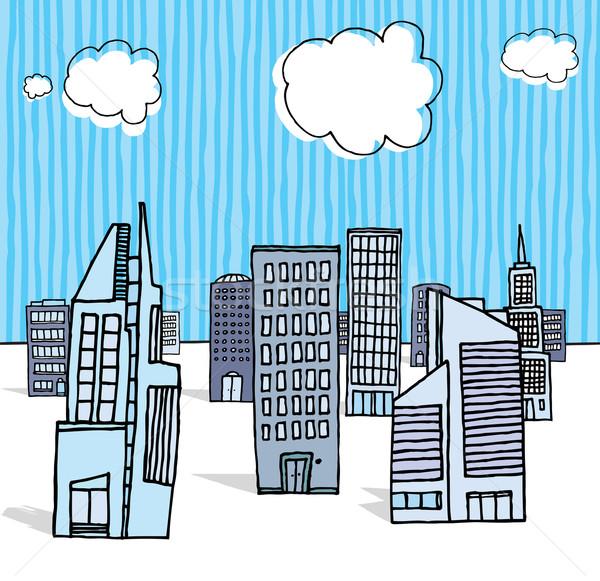 Kantoorgebouwen zakenwijk Blauw skyline wolkenkrabber Stockfoto © curvabezier