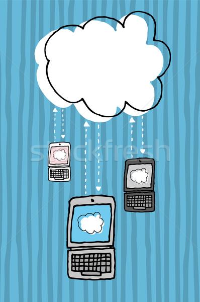 Dizüstü bilgisayar teknoloji bulut bağlantı Stok fotoğraf © curvabezier