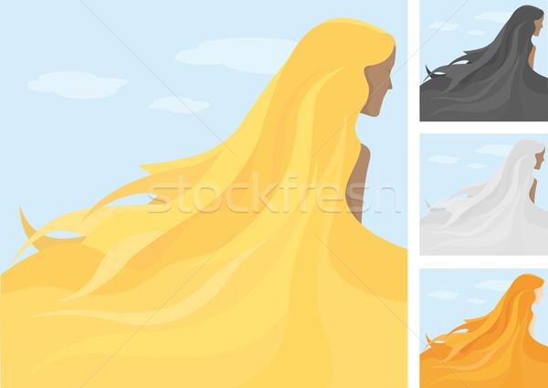 Longo verão cabelo mulheres beleza feminino Foto stock © curvabezier