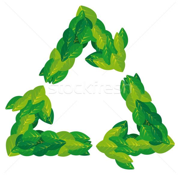 Folhas natureza reciclagem símbolo Foto stock © curvabezier