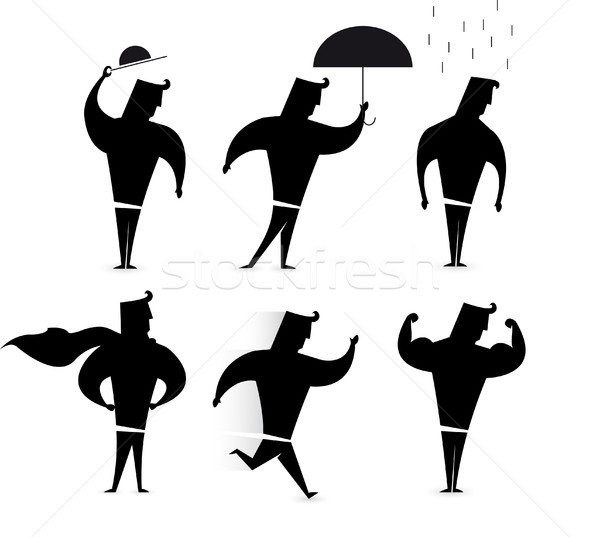 Gentleman character set / Hero Silhouette actions Stock photo © curvabezier