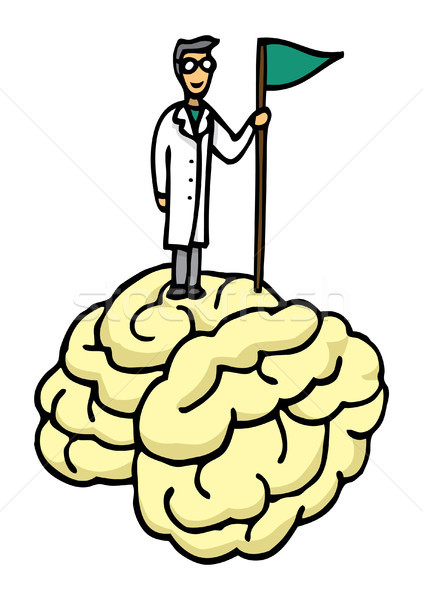 Scientist conquering brain Stock photo © curvabezier