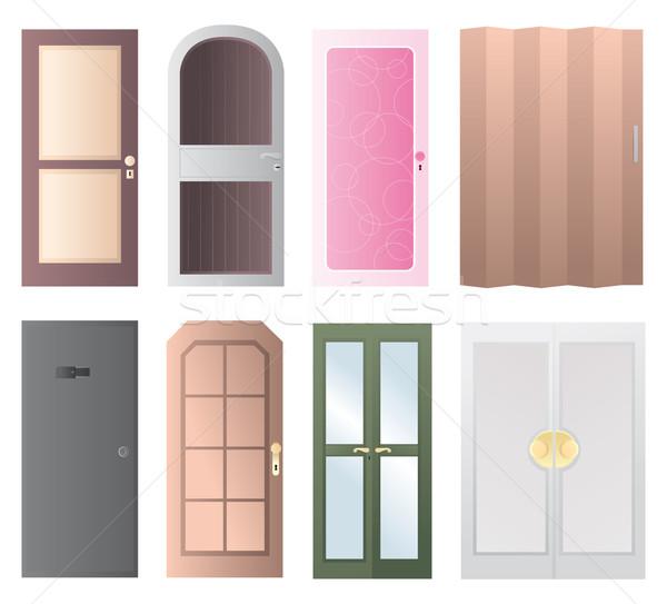Conjunto portas ícone casa vidro Foto stock © curvabezier