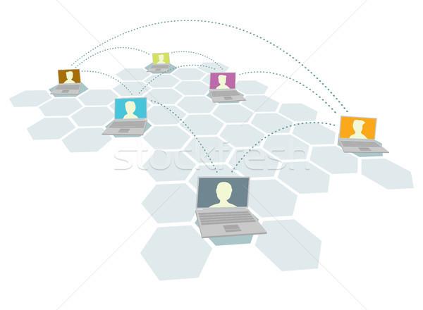 компьютер люди сеть множественный женщины ноутбука Сток-фото © curvabezier