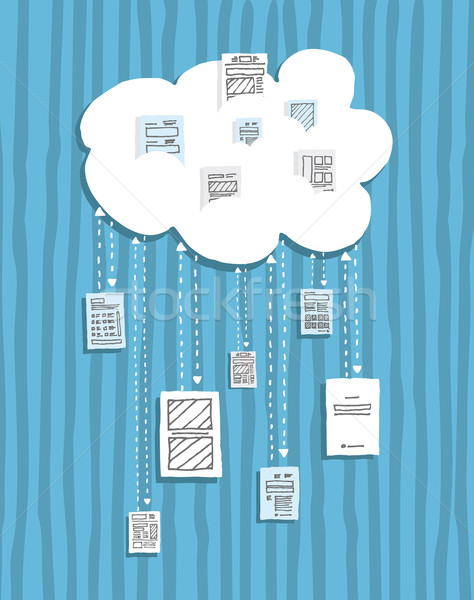 Cloud computing / Sharing documents online Stock photo © curvabezier