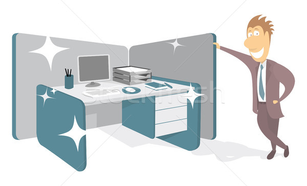 бизнесмен гордый рабочая станция бизнеса компьютер служба Сток-фото © curvabezier