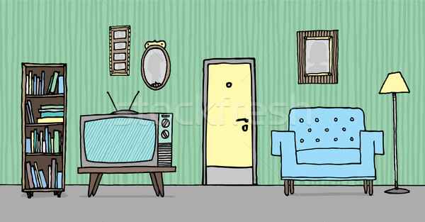 Cool vintage living room / Retro background Stock photo © curvabezier