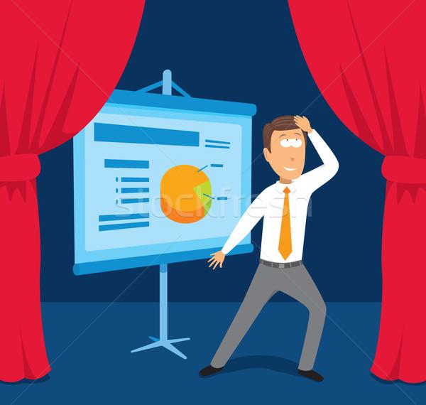 Empresário apresentação negócio cortina desenho animado Foto stock © curvabezier