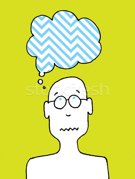 Worried person / Cartoon disturbed thoughts Stock photo © curvabezier