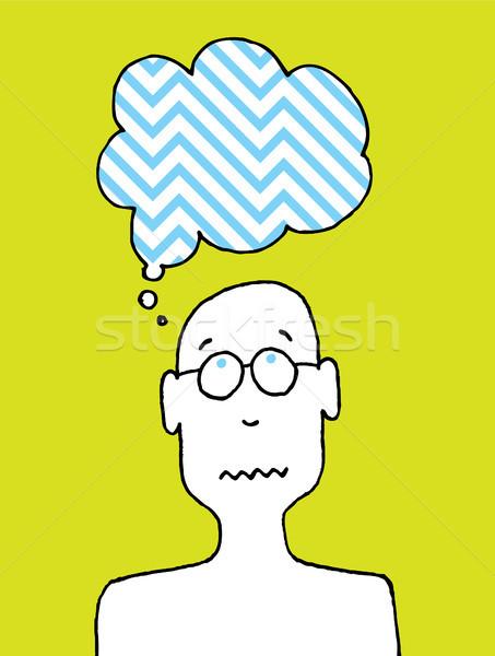 Bezorgd persoon cartoon gedachten Stockfoto © curvabezier