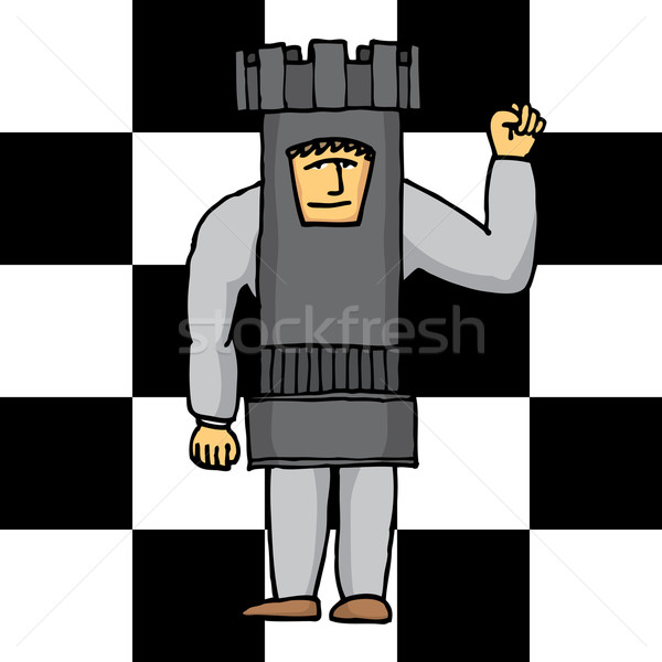 Human chess tower Stock photo © curvabezier