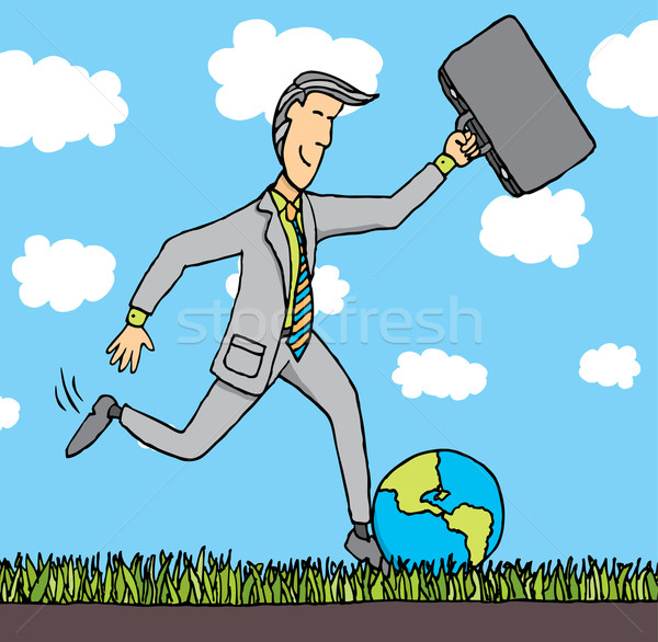 Businessman kicks the planet Stock photo © curvabezier