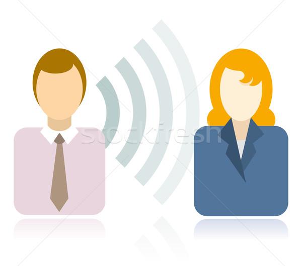 無線通信 女性 男 通信 接続 ベクトル ストックフォト © curvabezier