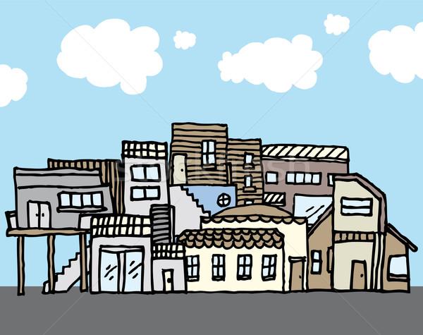 Veel huizen strak gemeenschap huis achtergronden Stockfoto © curvabezier