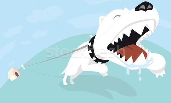 Tied angry dog Stock photo © curvabezier