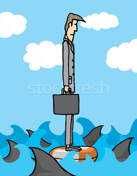 ビジネスマン サメ ビジネス 海 サメ 漫画 ストックフォト © curvabezier