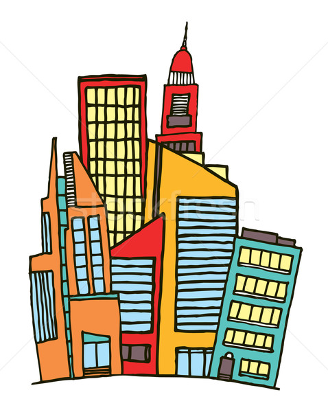 Colorful downtown / Vector city Stock photo © curvabezier