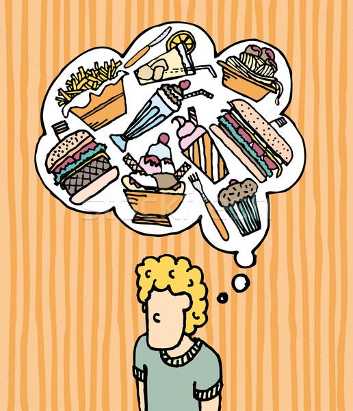 Faminto fast-food homens sorvete pensando sobremesa Foto stock © curvabezier