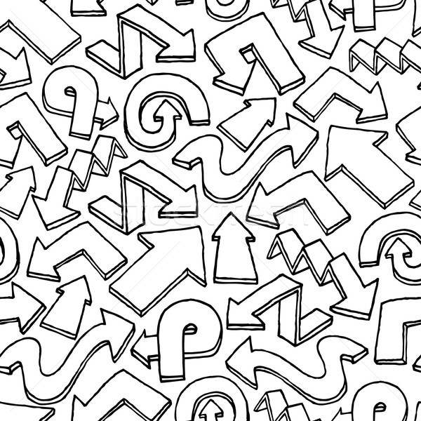 Seamless arrow vector pattern / Hand drawn background Stock photo © curvabezier