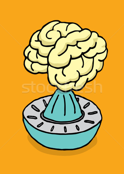 Cérebro suco pensando desenho animado estudar vetor Foto stock © curvabezier