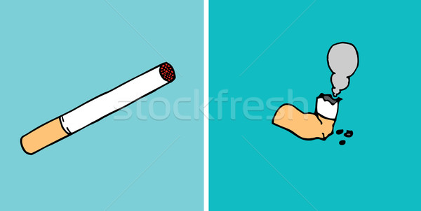 Consumed cigarette before and after Stock photo © curvabezier