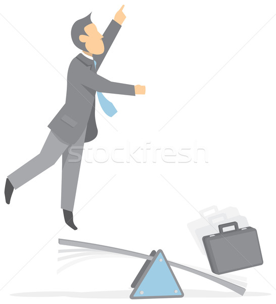 Businessman taking off a trampoline Stock photo © curvabezier