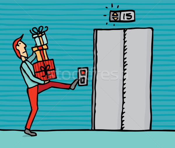 Carrying gifts into the elevator Stock photo © curvabezier