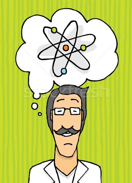 Feliz cientista pensando médico ciência desenho animado Foto stock © curvabezier