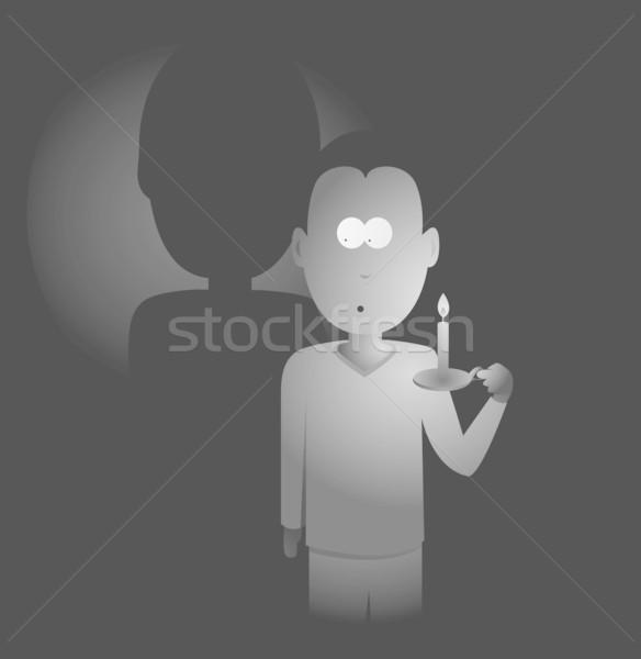 Férfi tart gyertya sötétség Stock fotó © curvabezier