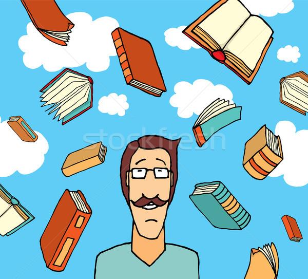Boeken vallen hemel kennis ontwerp kunst Stockfoto © curvabezier