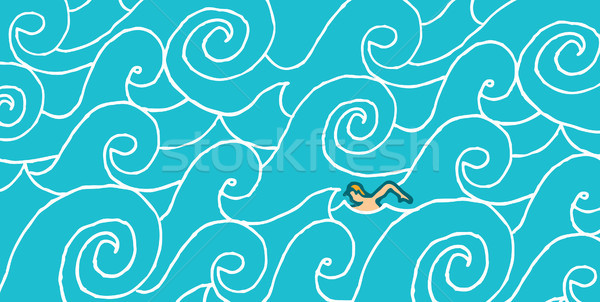 Swimming against the current Stock photo © curvabezier