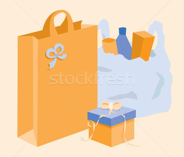 Supermercado saco bolsa de compras caixa de presente compras Foto stock © curvabezier