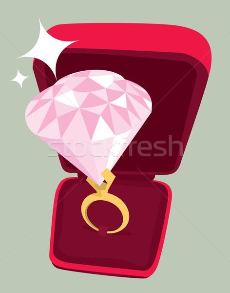 énorme bague de fiançailles diamant mariage pierre or Photo stock © curvabezier