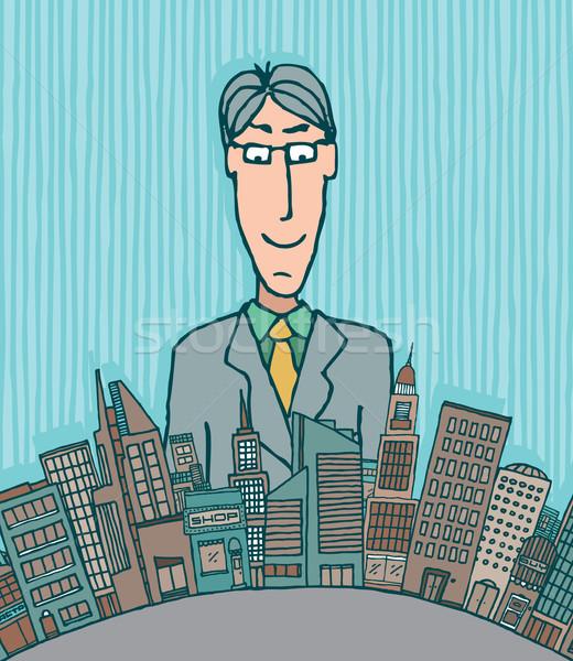 巨人 ビジネスマン ビジネス スカイライン 電源 ブリーフケース ストックフォト © curvabezier