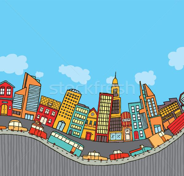 Stok fotoğraf: Komik · karikatür · şehir · bo · araba · trafik