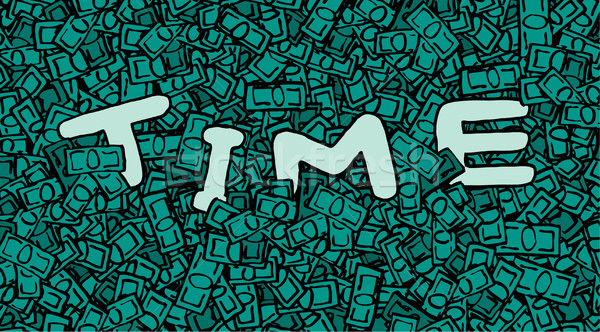 Tijd is geld business cartoon Bill tekst vector Stockfoto © curvabezier
