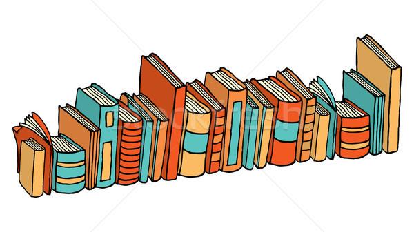 Diferente em pé livros biblioteca educação Foto stock © curvabezier