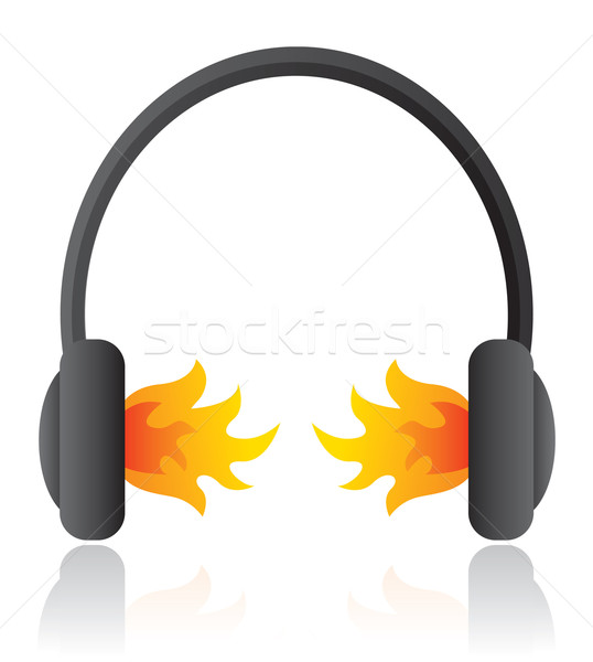Loud rocking music / Headphones on fire Stock photo © curvabezier