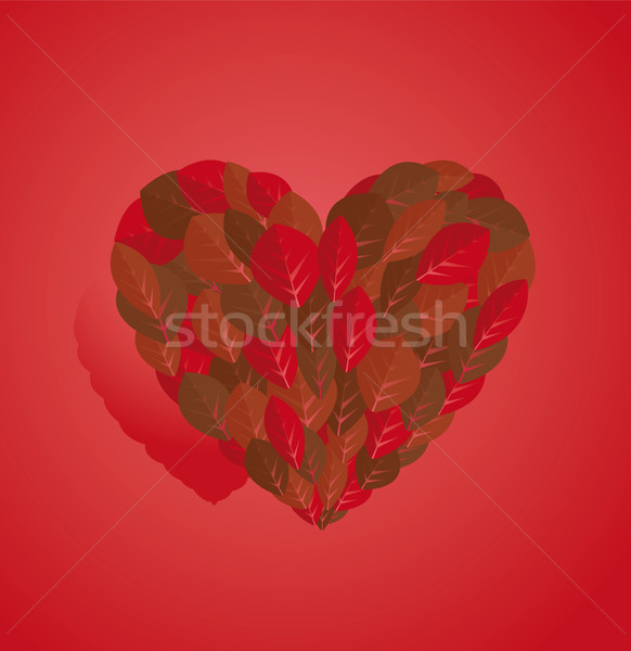Valentine card leaf love heart Stock photo © curvabezier